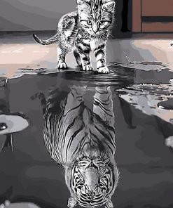 Cat Mirror Tiger - DIY Paint By Numbers - Numeral Paint
