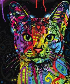 Colorful Cat Abstract Modern Wall Art Picture - DIY Paint By Numbers - Numeral Paint