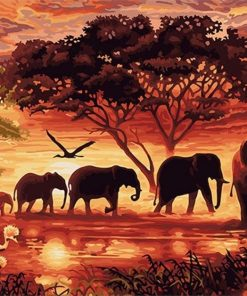 Elephants Landscape Canvas Painting Unique - DIY Paint By Numbers - Numeral Paint