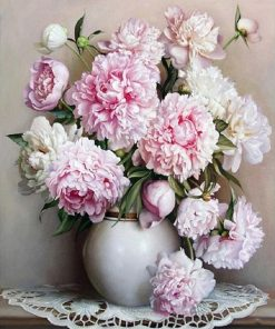 Pink Flowers Acrylic Paint - DIY Paint By Numbers - Numeral Paint