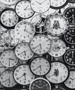 Clock Time Black And White Paint by numbers