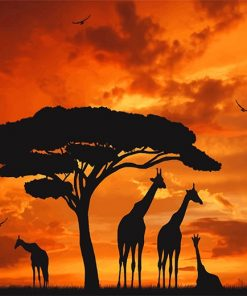 Giraffes Silhouette Sunset Paint by numbers