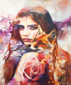 Colorful fox woman adult paint by numbers