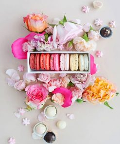 Pink Macarons with Flowers adult paint by numbers