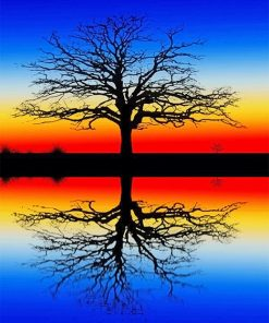 Tree reflection i water adult paint by numbers