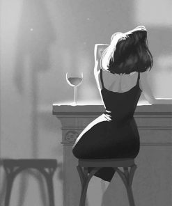 Black And White Lonely Woman Drinking Wine Paint By Numbers