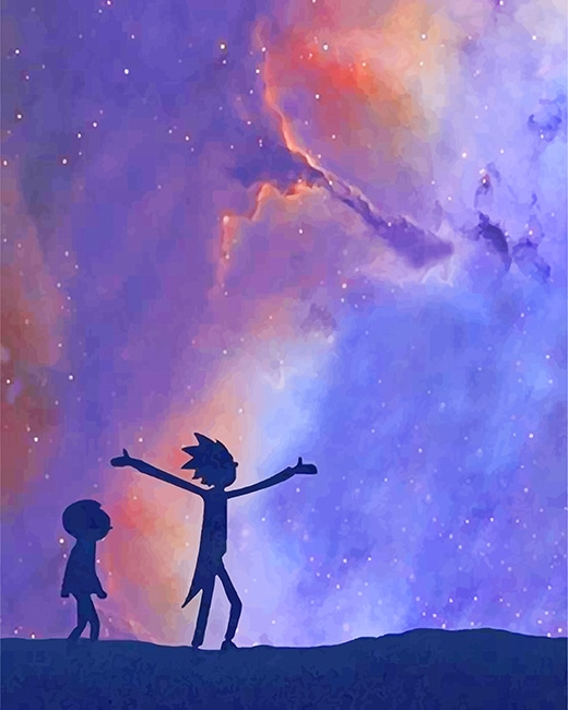 Aesthetic Rick And Morty Silhouette Paint By numbers