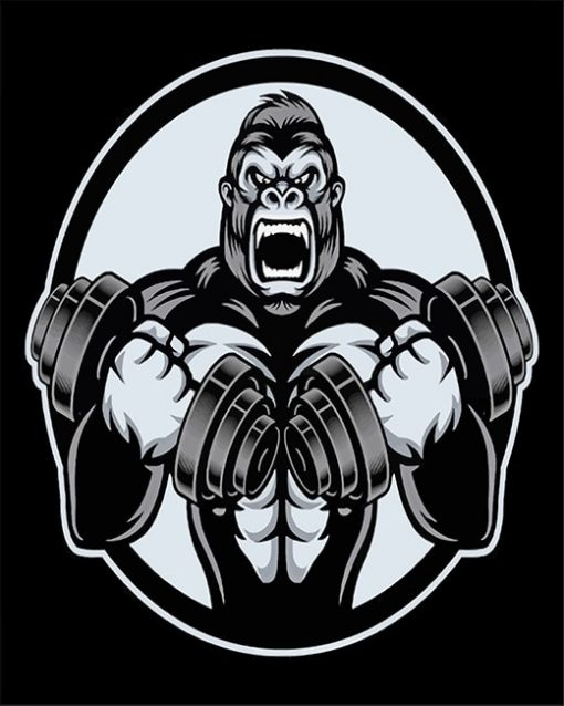 Black And White Strong Gorilla paint by number
