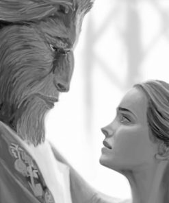 Black and white the beauty and the beast adult paint by numbers