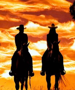 Cowboy Cowgirl silhouette adult paint by numbers