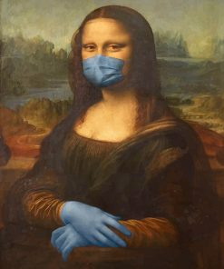 Mona liza wearing mask adult paint by numbers