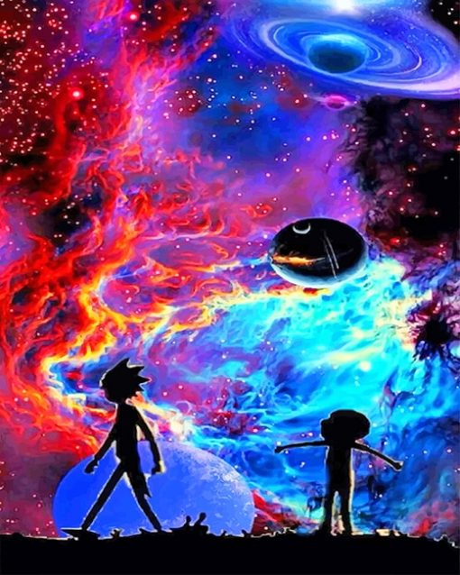 Colorful Rick And Morty Silhouette Paint By Numbers