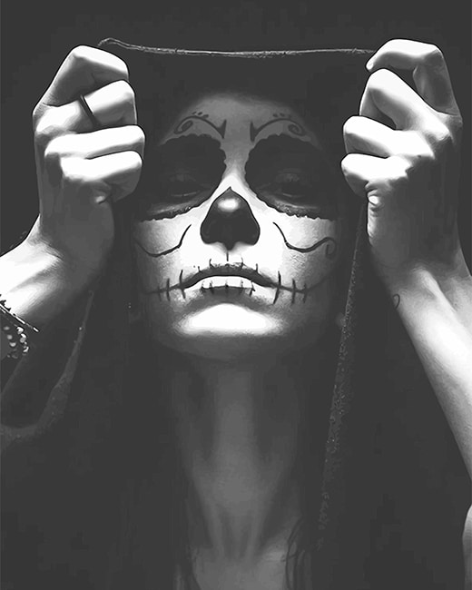 black and white skull woman adult paint by numbers