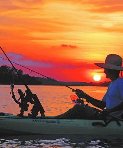 kayak fishing at sunset adult paint by numbers