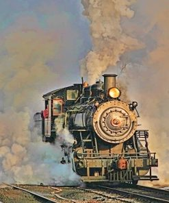 Old Steam Engine Train Paint By Numbers