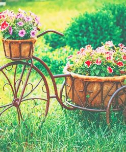 Vintage Bike Equipped Basket Flowers paint by number