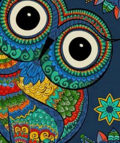 Colorful Owl Mandala paint by numbers