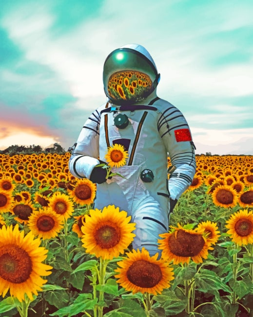 Aesthetic Astronaut In Sunflower Field Paint By Numbers