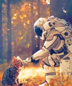 Aesthetic Astronaut With Cat paint by numbers