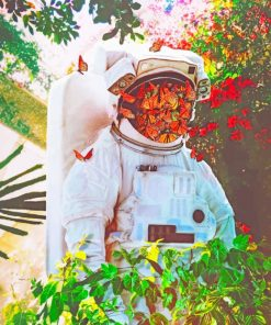 Astronaut With Butterflies Face paint by numbers
