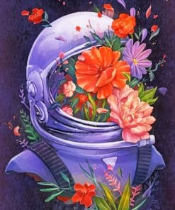 Astronaut With Flowers paint by numbers
