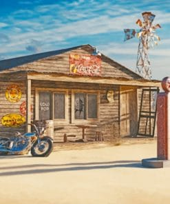Vintage Road Gas Station paint by numbers