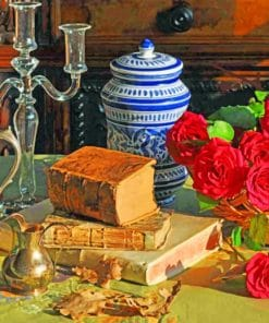 Books And Flowers Still Life paint by numbers