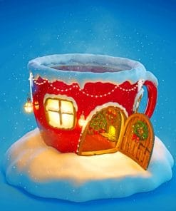 Christmas Cup House paint by numbers
