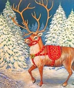 Christmas Reindeer paint by numbers