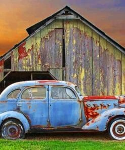Old Barn And Car paint by numbers