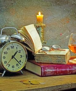 Old Books And Clock paint by numbers