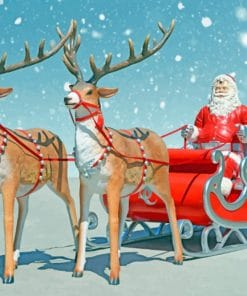 Santa And Reindeer paint by numbers