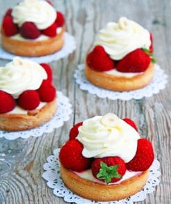 Strawberry Tarts With White Chocolate Cream paint by numbers