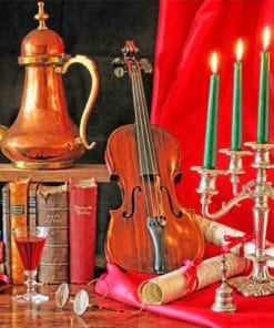 Violin And Candles Still Life paint by numbers