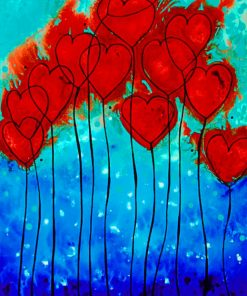 Romantic Hearts paint By Numbers
