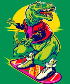 Dinosaur On Skate Board paint by numbers