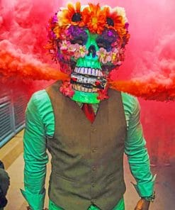 Skeleton With Red Smoke Bomb paint by numbers