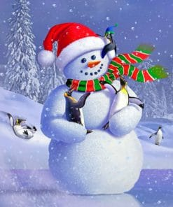 Snowman With Penguins paint by numbers