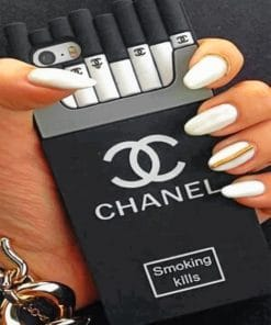 White And Gold Chanel Nails paint By numbers